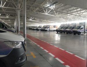 Diesel Truck Park Garage mit stationärer Gaswarnanlage von MSR-Electronic