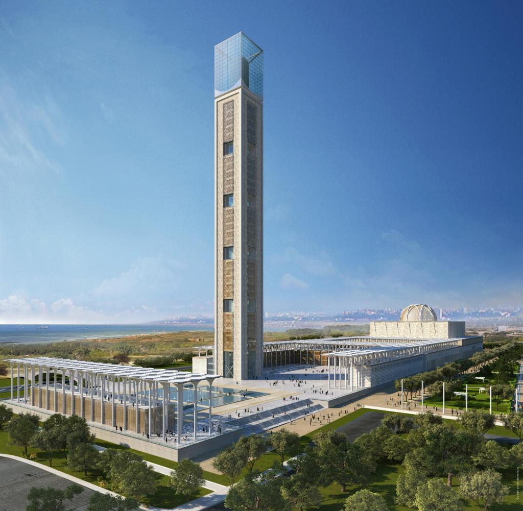 Tower, observation deck, green space, square, Algiers Grand Mosque, KSP Engel architecture firm