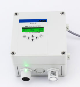 MSR-Electronic_Gas measurement Multi-Gas-Controller in light grey housing with cable, display, sensor and warning light